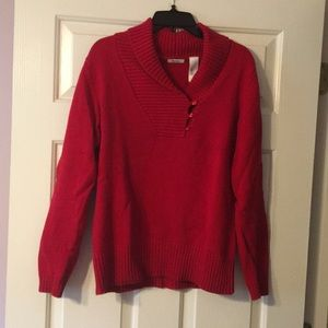 Liz and Co. Red Cable Knit Sweater size L